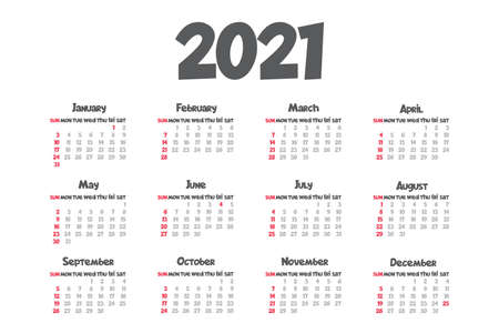 2021 monthly calendar template isolated white color