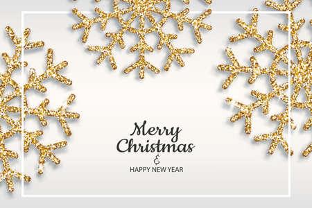 Golden snowflakes shimmer on light background Vettoriali