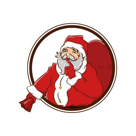 Secret Santa Claus hold big sack christmas badge