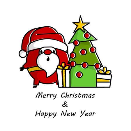 Flat invitation card with Santa logo line art