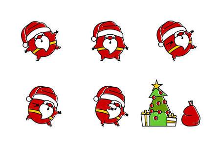 Flat Santa  in line art style