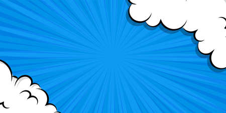 Cartoon puff cloud blue background for text template 向量圖像