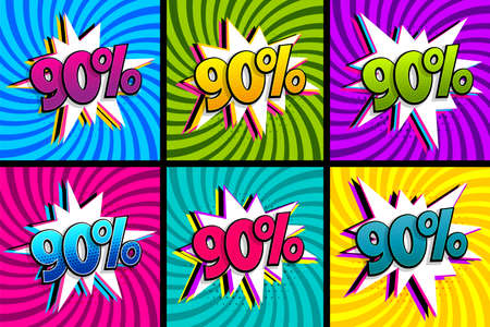Comic text 90 percent sale set discount.