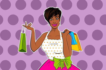 Beautiful black african pop art girl shopping 向量圖像