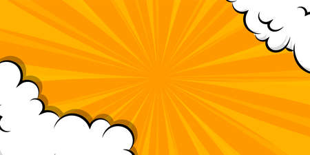Cartoon puff cloud yellow background for text