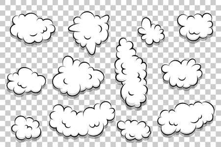 artoon puff cloud template on transparent background