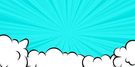 Comic book cartoon speech bubble for text. Cartoon puff cloud blue background for text template. Pop art dialog conversation funny smoke steam. Comics explosion symbol.