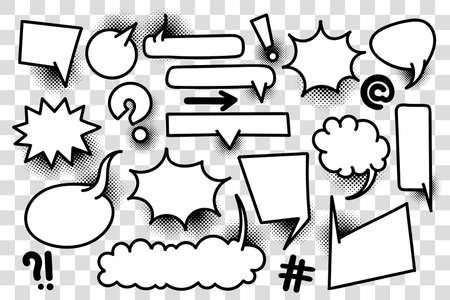 Comic text speech bubble pop art style halftone background. Set white cloud talk speech bubble. Isolated white speech bubble talk silhouette for text. Text comics design elements web sms message chat 矢量图像