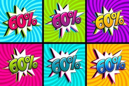 Comic text 60 percent sale set discount. Colored speech bubble on radial background. Comics book explosion wow boom offer collection. Halftone radial vintage. Promo sale sixty percent poster