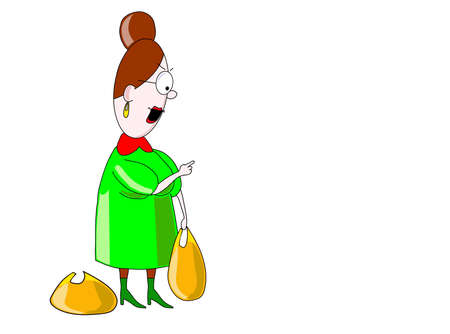 The strict woman-teacher in glasses with two bags, dressed in a green dress.