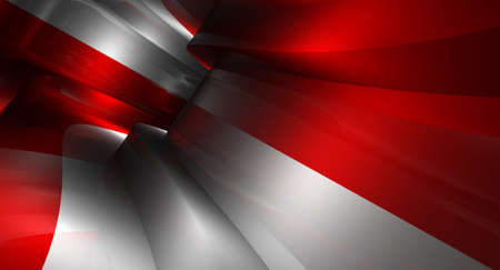 back to the future: Abstract background in the form of 3d models of turn in the tunnel of red and white color Stock Photo
