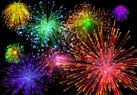 variegated: Celebratory firework in dark sky Stock Photo