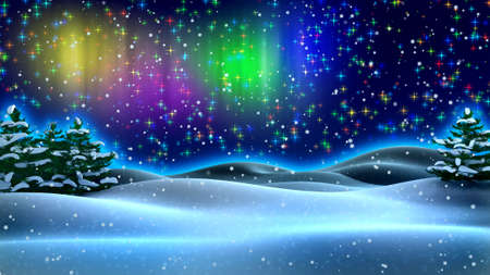glades: New Year Night Lights with glades and spruces in snow  Stock Photo