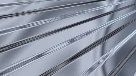 toughness: An abstract background in the form of three-dimensional model of corrugated sheet metal, reflecting light