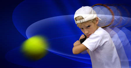 playing tennis: The boy is playing tennis, discourages the ball Stock Photo