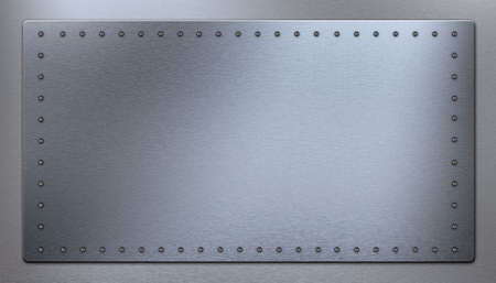 strong toughness: Three-dimensional model of a metal armour wall with rivets Stock Photo