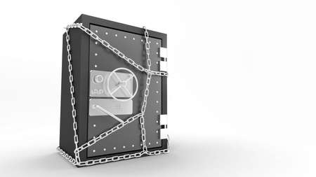 Three-dimensional model of the steel safe with a coded lock Stock Photo