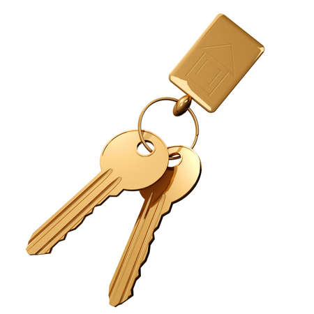 icon key: Two gold keys on a ring and a charm with a house icon