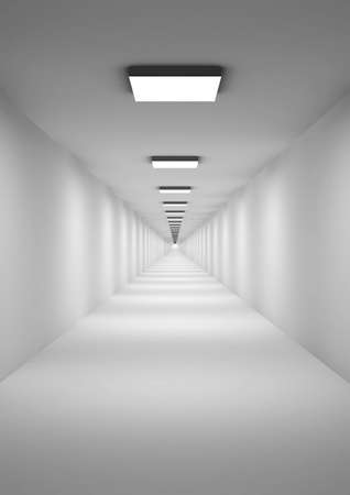 Three-dimensional model of an abstract corridor with photometric illumination photo