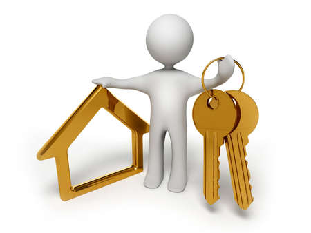 Three-dimensional model of the person in the form of a symbol holding gold keys and a charm in the form of a small house