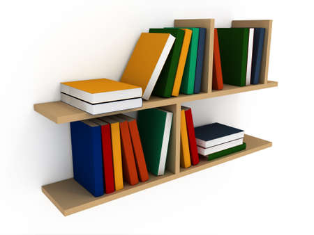 Book shelf with various books on a white background Stock Photo - 5589479