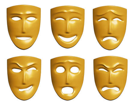 The three-dimensional models of theatrical masks showing human emotions Stock Photo - 5602001
