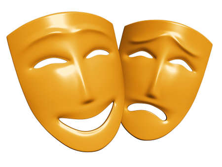 The three-dimensional models of theatrical masks showing human emotions photo