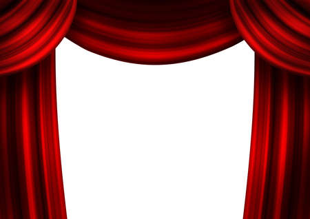 archiitecture: Theatrical dark red curtains on a white background