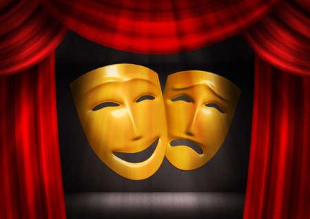 mascara de teatro: Los modelos tridimensionales de m�scaras teatrales, mostrando las emociones humanas