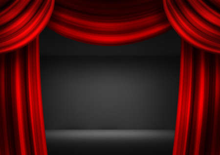 archiitecture: Theatrical scene with red curtains and a dark background