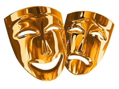 mascara de teatro: Los modelos tridimensionales de m�scaras teatrales mostrando las emociones humanas  Foto de archivo