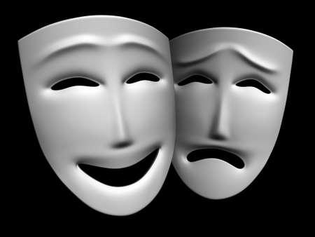 I modelli tridimensionali di maschere teatrali, mostrando le emozioni umane