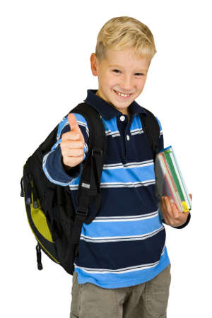 elementary age boy: The boy going to go to school Stock Photo