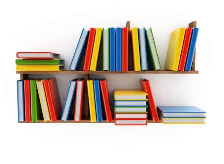 estanter�as: Estante de libro con varios libros sobre un fondo blanco Foto de archivo