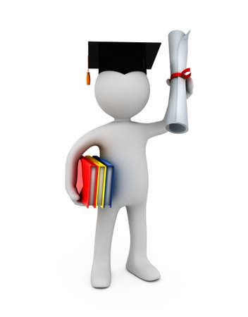 highschool: The three-dimensional model of the person symbolising the graduate of university with the certificate in hands