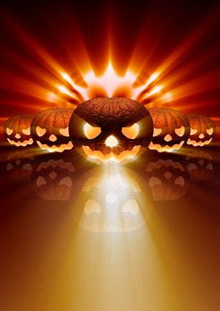 Imagination sur un thème de vacances halloween, un fantôme fait d'une citrouille avec des yeux brillants