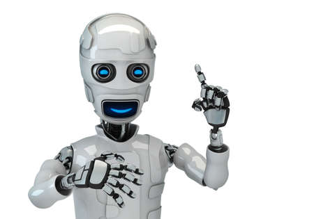 Three-dimensional model of the robot on an white background photo