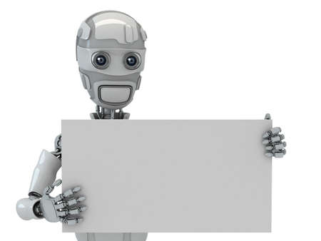 Three-dimensional model of the robot with the blank in hands photo
