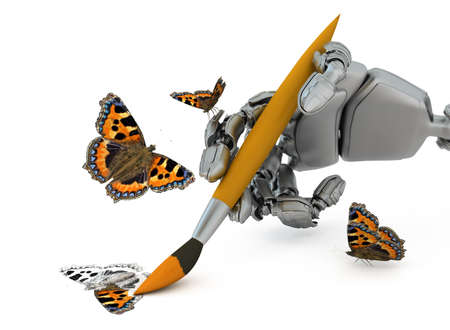 The robot hand holds a paintbrush and draws a butterfly photo