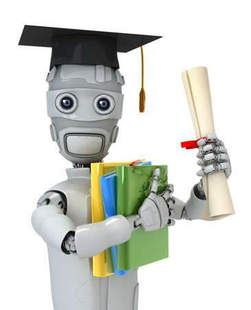 Three-dimensional model of the robot with books and the diploma photo
