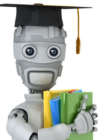 Three-dimensional model of the robot with books photo