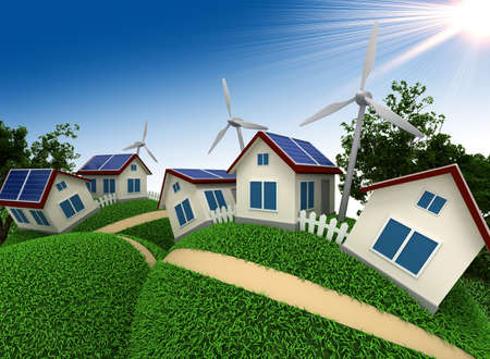 power house: Three-dimensional model of abstract village which is constructed with use of power saving up technologies