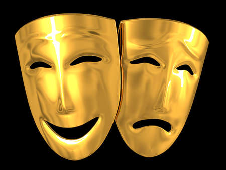 black mask: Gold theatrical masks of a comedy and tragedy Stock Photo