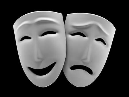 black mask: White theatrical masks of a comedy and tragedy