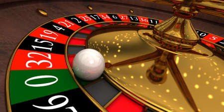 Roulette in a casino and the sphere which has got on a mark  photo