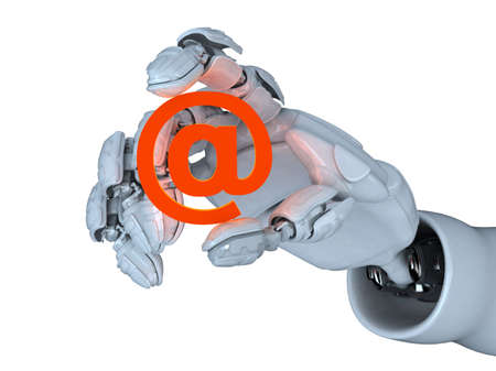 Hand of the abstract robot and e-mail symbol photo