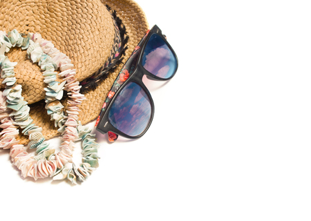 Hat with sunglasses. Recreation. Summer vacation