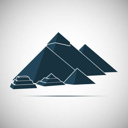 khafre: Five Egyptian pyramids conical shape. Vector illustration.