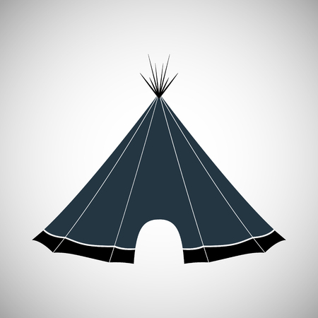 nomadic: Hut made of branches, leather, bark for living among the Indians. Vector illustration. Illustration