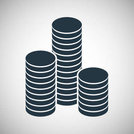 gold and silver coins: A stack of round gold coins. Vector illustration.